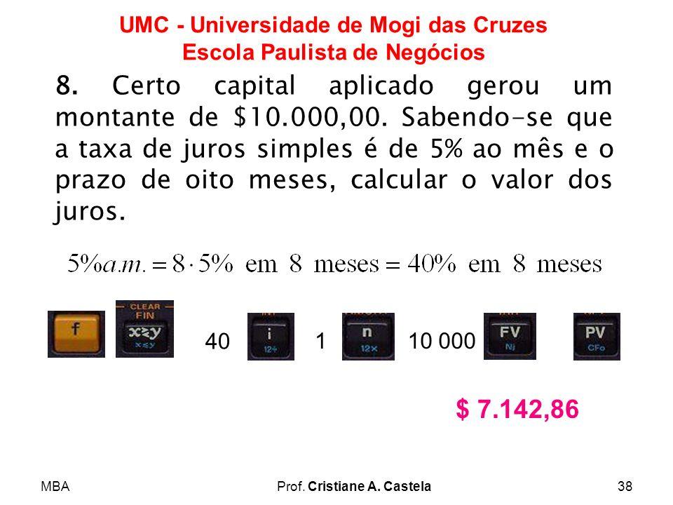 8. Certo capital aplicado gerou um montante de $10. 000,00