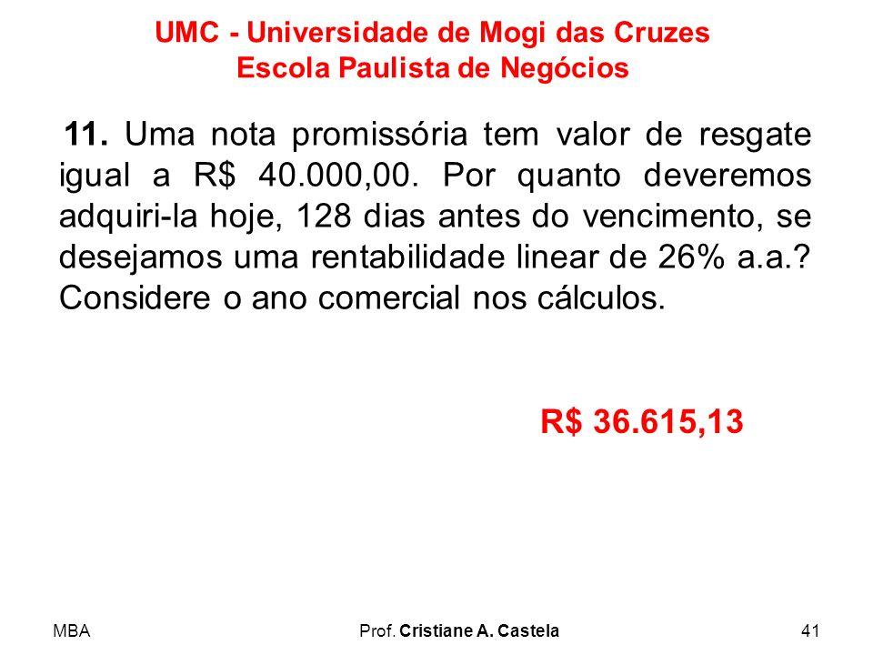 11. Uma nota promissória tem valor de resgate igual a R$ 40. 000,00