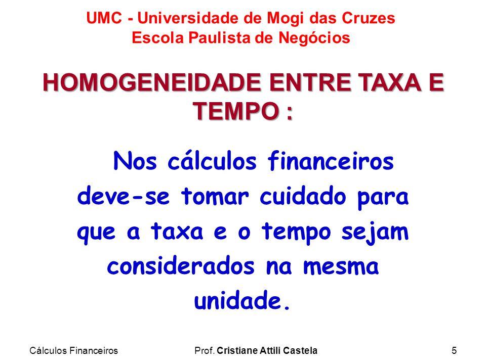 HOMOGENEIDADE ENTRE TAXA E TEMPO :