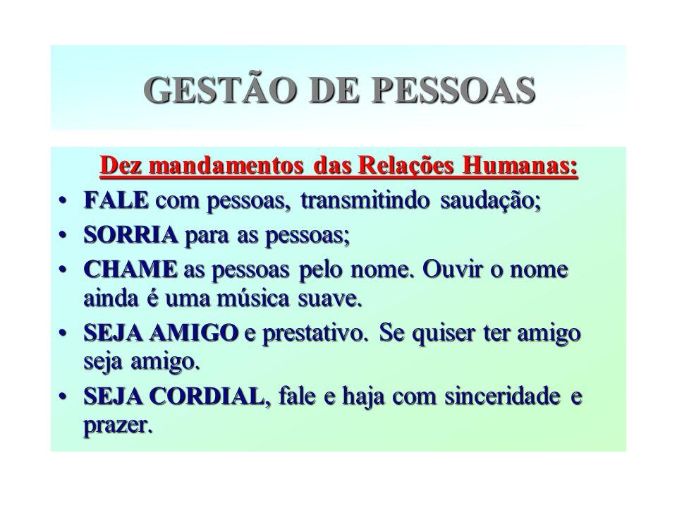 Dez mandamentos das Relações Humanas: