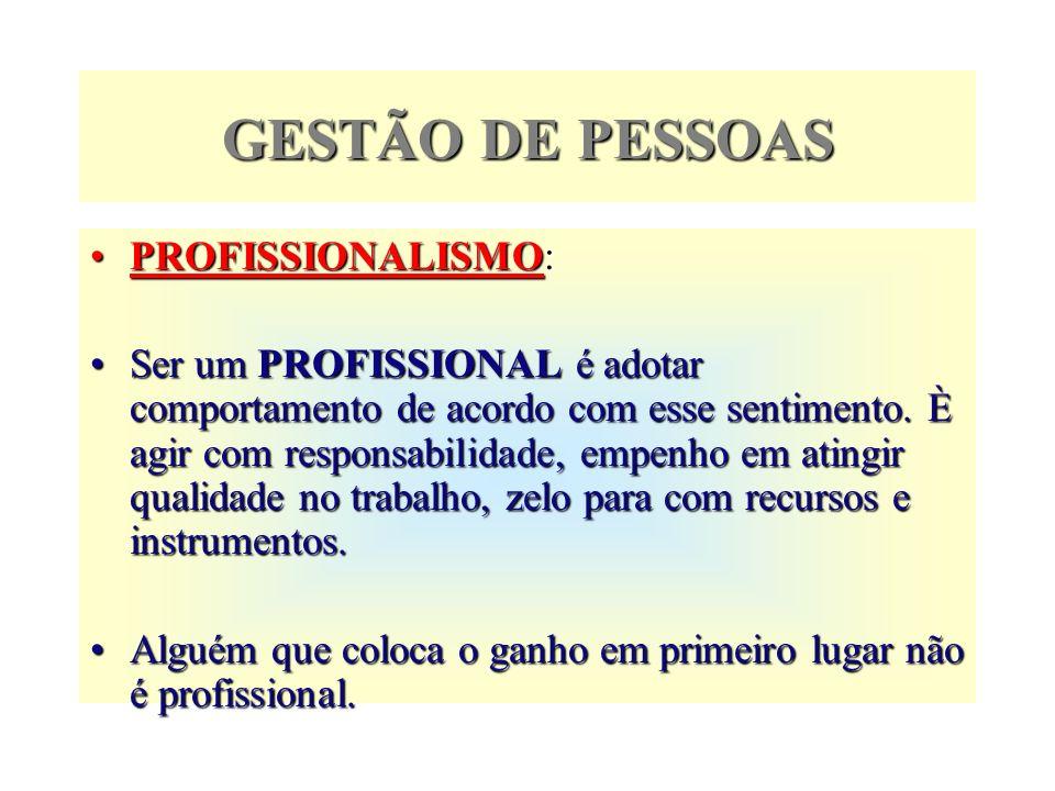 GESTÃO DE PESSOAS PROFISSIONALISMO: