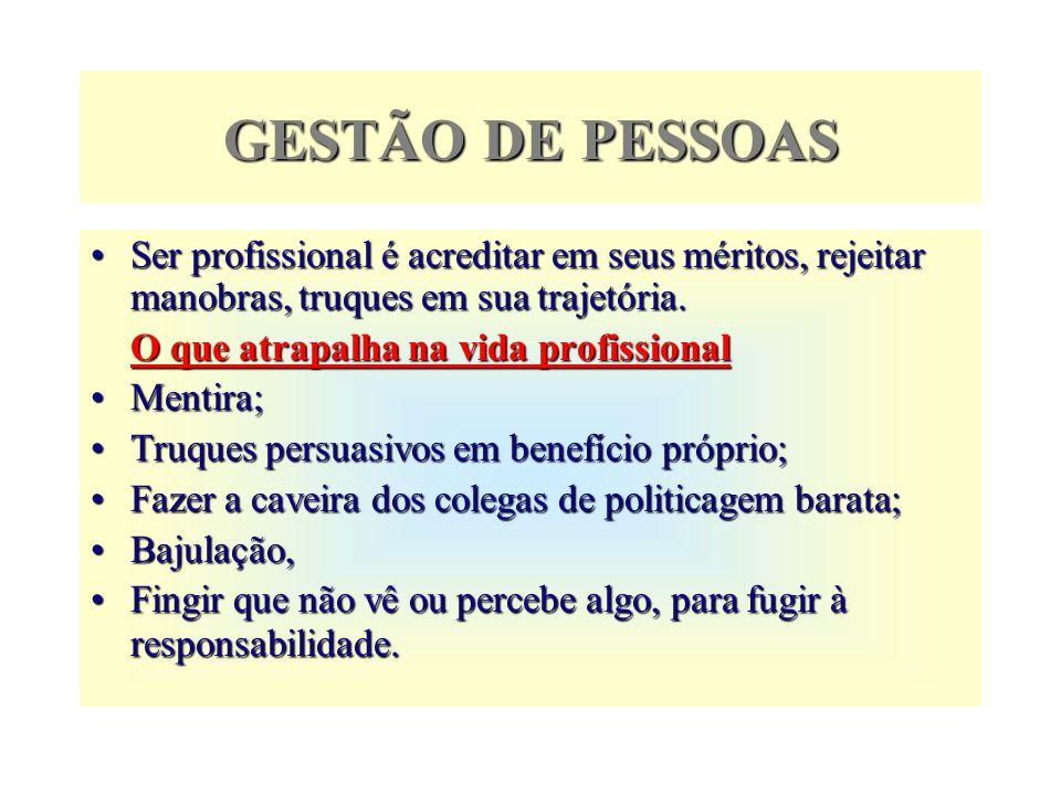 GESTÃO DE PESSOASSer profissional é acreditar em seus méritos, rejeitar manobras, truques em sua trajetória.