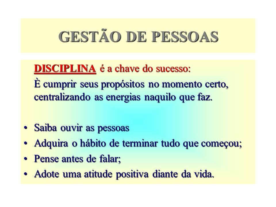 GESTÃO DE PESSOAS DISCIPLINA é a chave do sucesso: