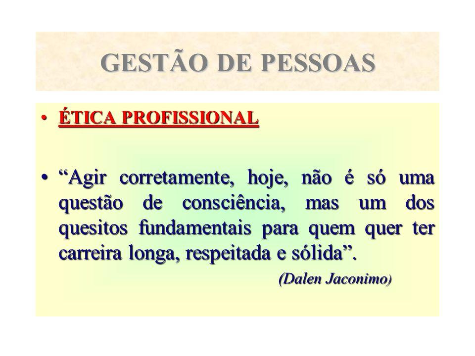 GESTÃO DE PESSOAS ÉTICA PROFISSIONAL.