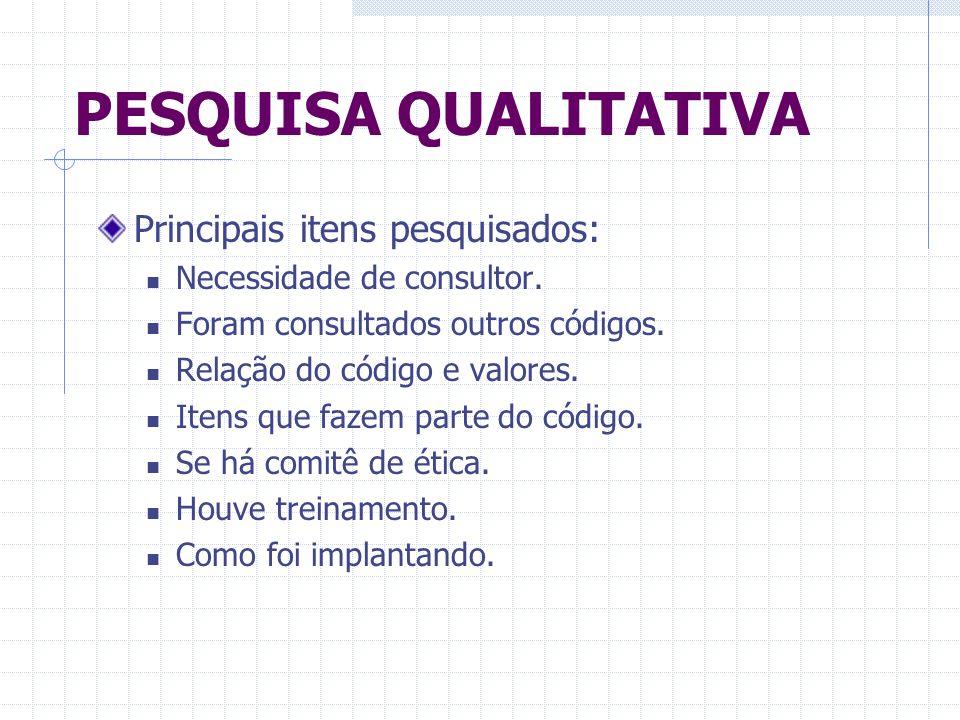 PESQUISA QUALITATIVA Principais itens pesquisados: