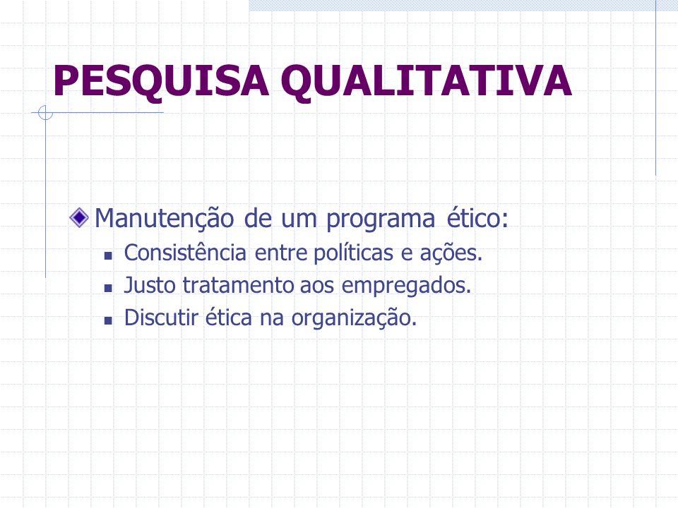 PESQUISA QUALITATIVA Manutenção de um programa ético: