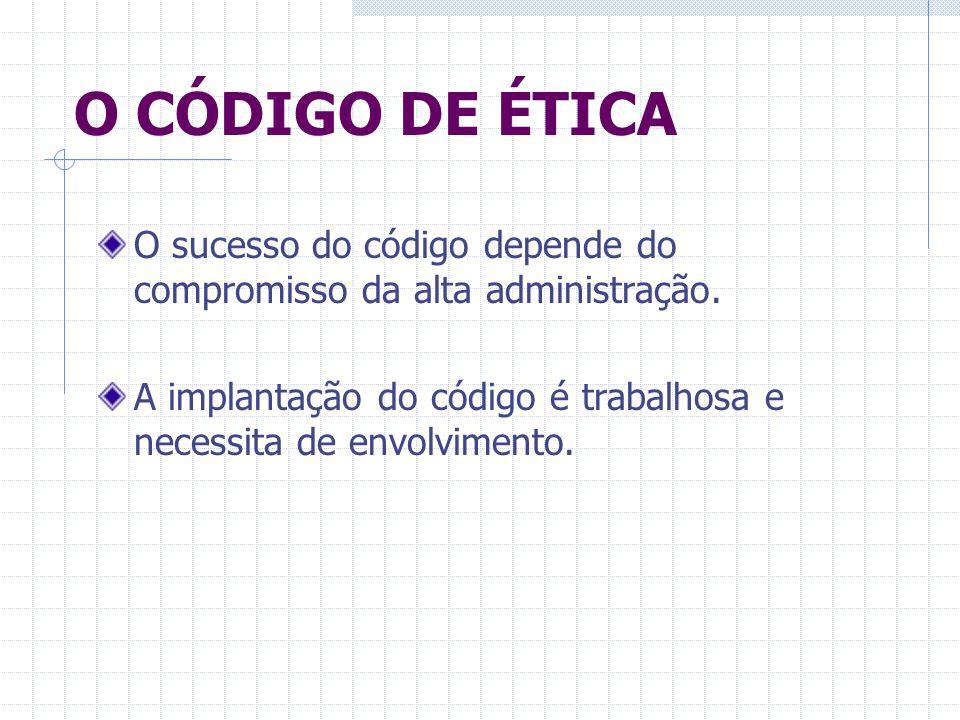 O CÓDIGO DE ÉTICAO sucesso do código depende do compromisso da alta administração.