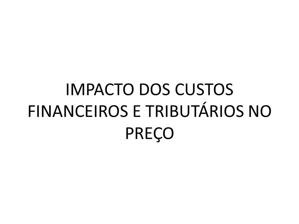 IMPACTO DOS CUSTOS FINANCEIROS E TRIBUTÁRIOS NO PREÇO