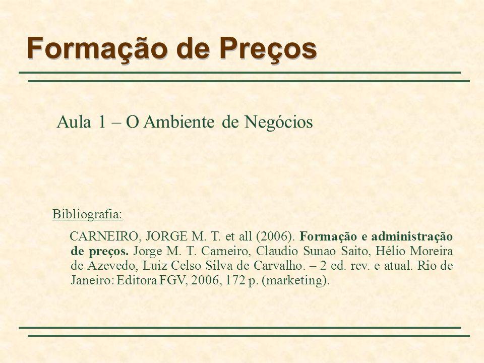 Formação de Preços Aula 1 – O Ambiente de Negócios Bibliografia: