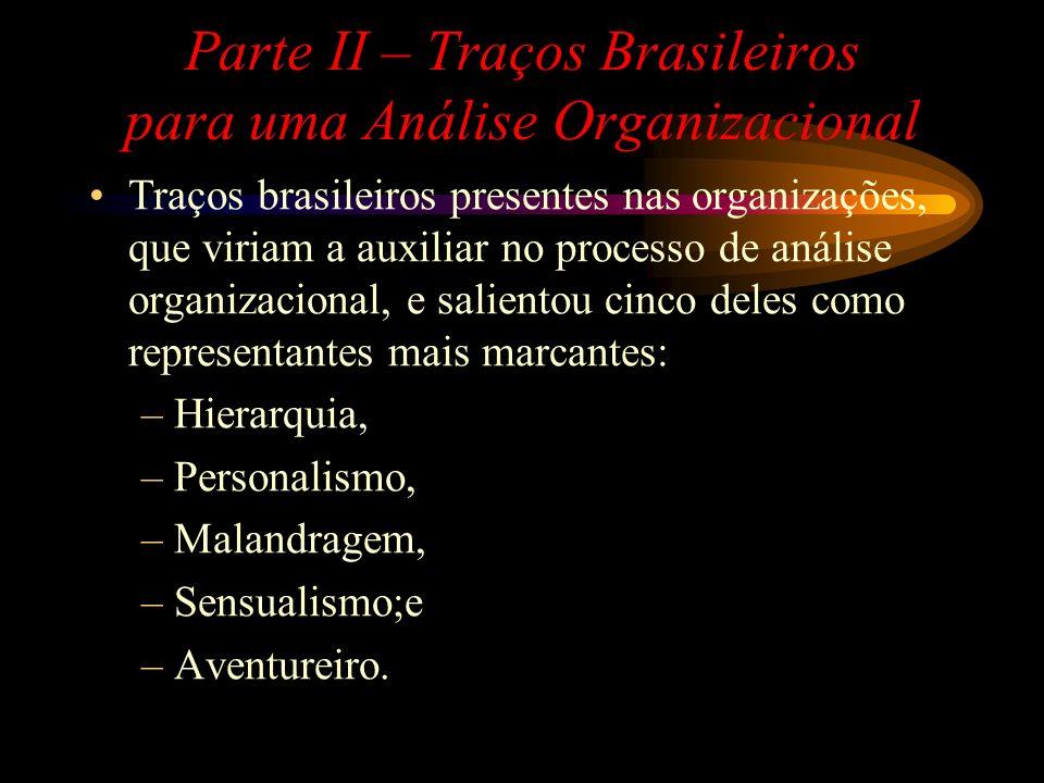 Parte II – Traços Brasileiros para uma Análise Organizacional