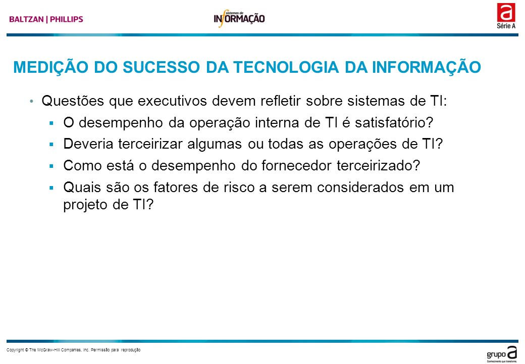 MEDIÇÃO DO SUCESSO DA TECNOLOGIA DA INFORMAÇÃO