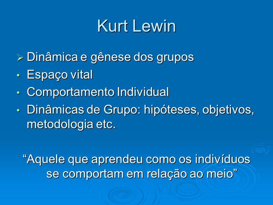 Kurt Lewin Dinâmica e gênese dos grupos Espaço vital