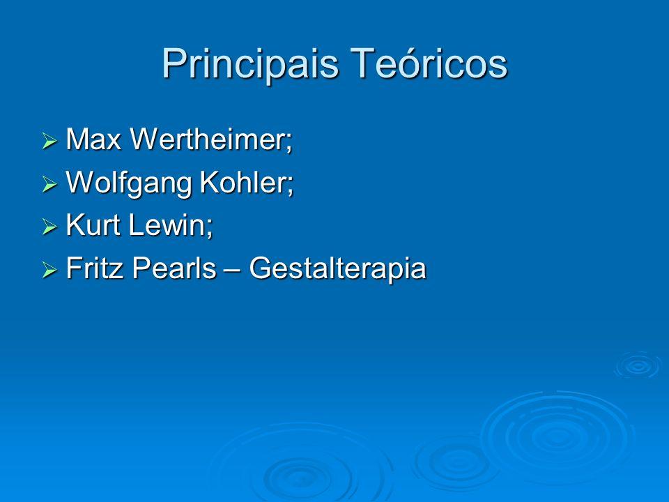 Principais Teóricos Max Wertheimer; Wolfgang Kohler; Kurt Lewin;