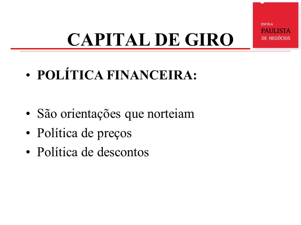 CAPITAL DE GIRO POLÍTICA FINANCEIRA: São orientações que norteiam
