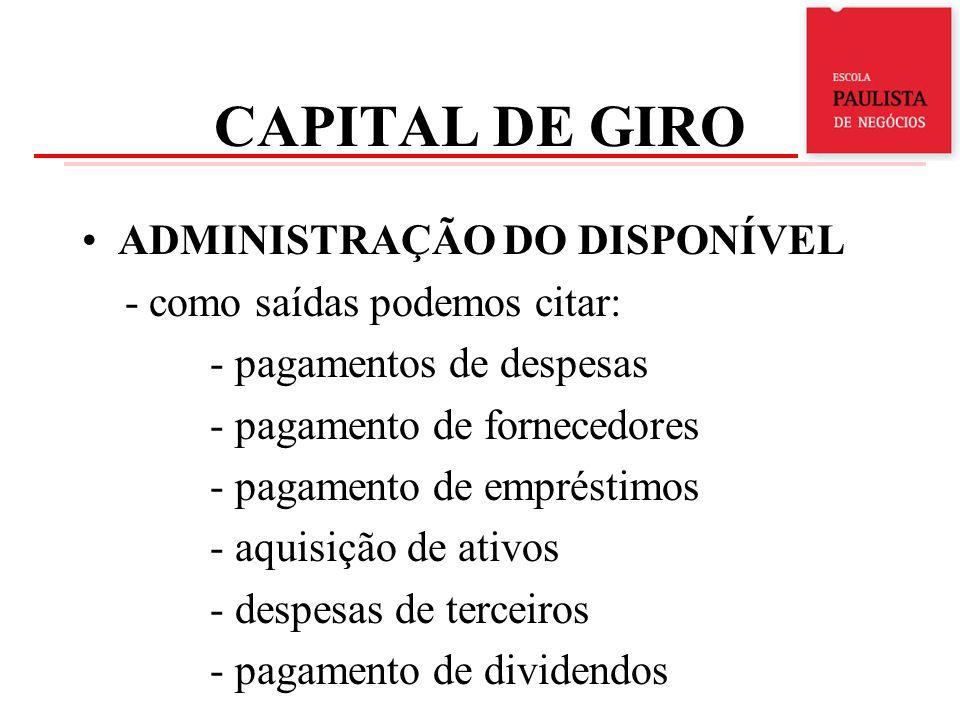 CAPITAL DE GIRO ADMINISTRAÇÃO DO DISPONÍVEL