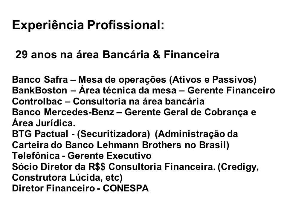Experiência Profissional: 29 anos na área Bancária & Financeira Banco Safra – Mesa de operações (Ativos e Passivos) BankBoston – Área técnica da mesa – Gerente Financeiro Controlbac – Consultoria na área bancária Banco Mercedes-Benz – Gerente Geral de Cobrança e Área Jurídica.