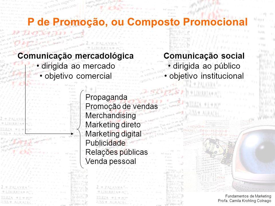 P de Promoção, ou Composto Promocional Comunicação mercadológica