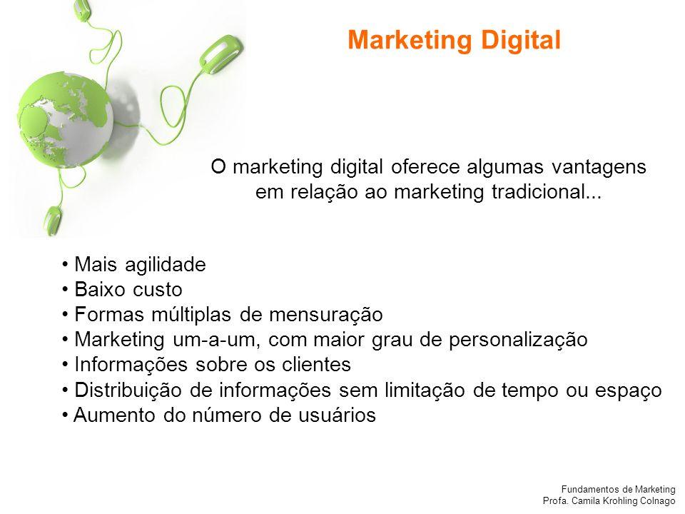 Marketing Digital O marketing digital oferece algumas vantagens em relação ao marketing tradicional...