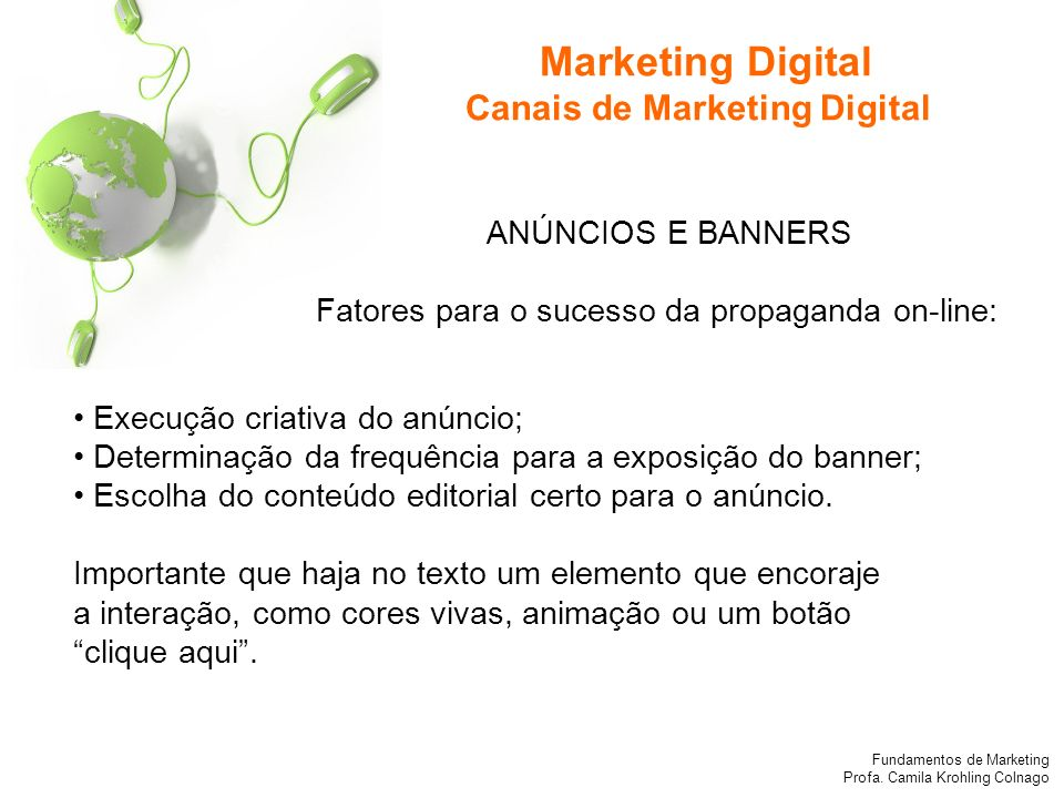 Marketing Digital Canais de Marketing Digital ANÚNCIOS E BANNERS