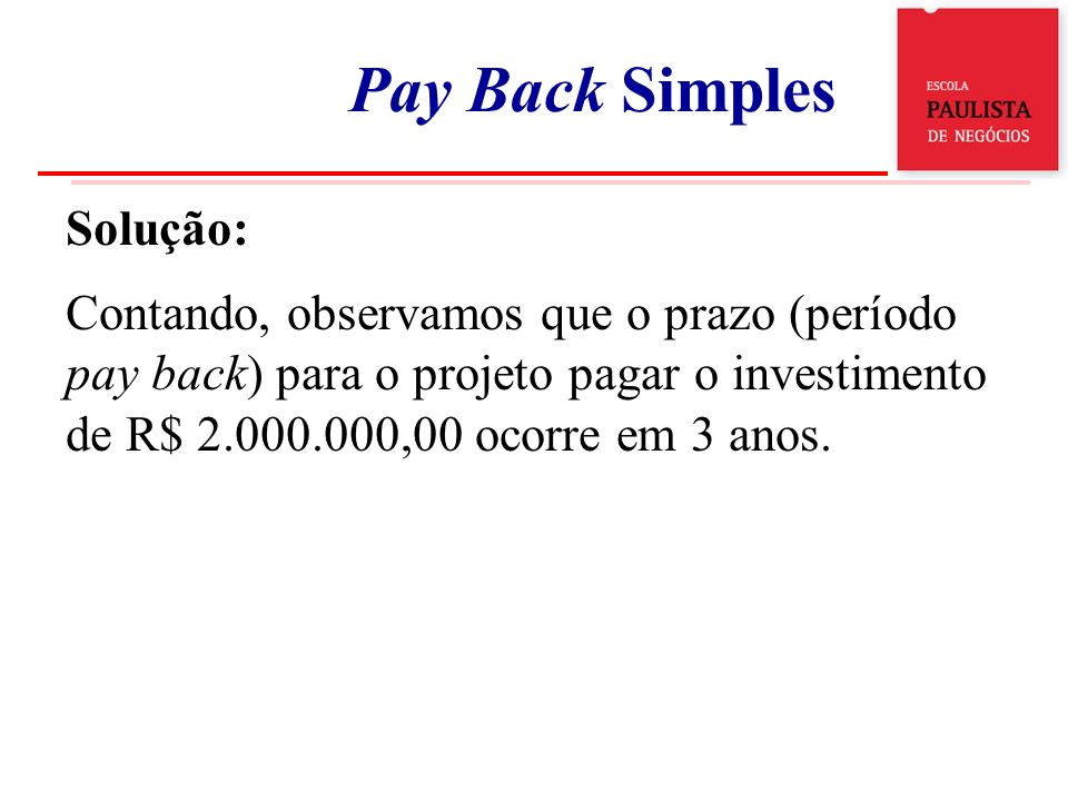 Exemplo 1 Pay Back Simples