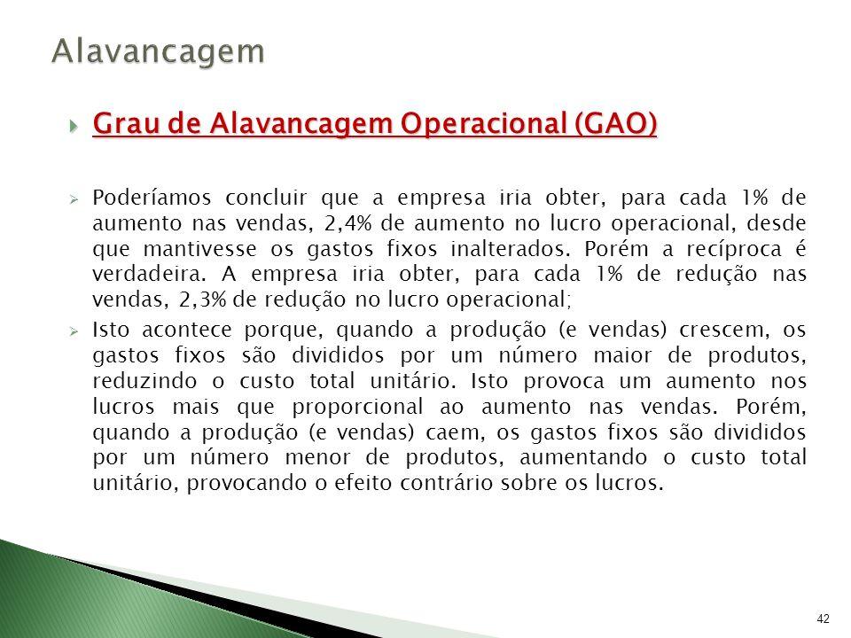 Alavancagem Grau de Alavancagem Operacional (GAO)