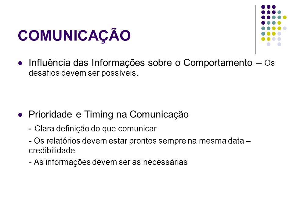 COMUNICAÇÃOInfluência das Informações sobre o Comportamento – Os desafios devem ser possíveis. Prioridade e Timing na Comunicação.