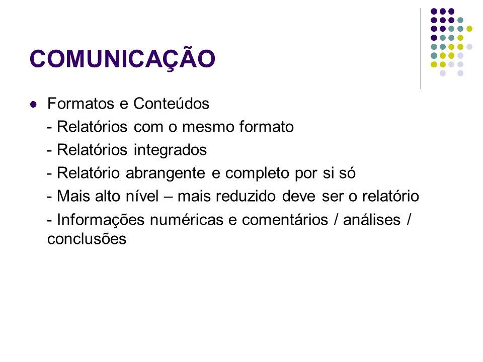 COMUNICAÇÃO Formatos e Conteúdos - Relatórios com o mesmo formato