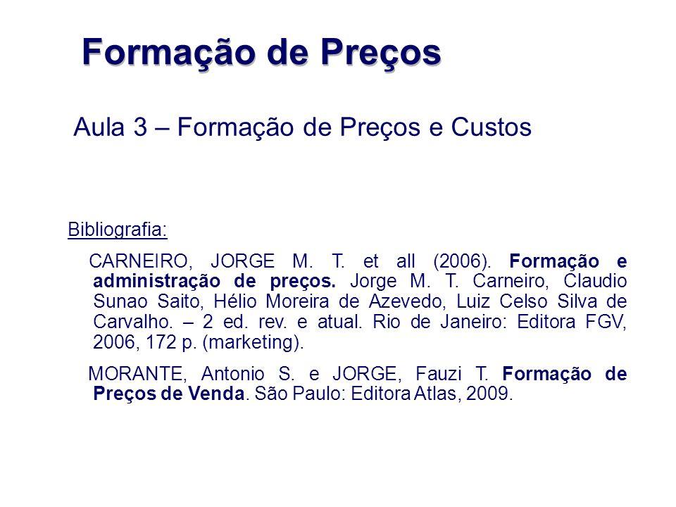 Formação de Preços Aula 3 – Formação de Preços e Custos Bibliografia: