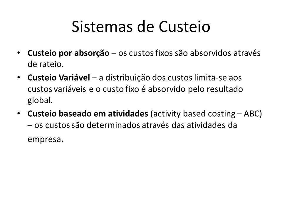Sistemas de Custeio Custeio por absorção – os custos fixos são absorvidos através de rateio.