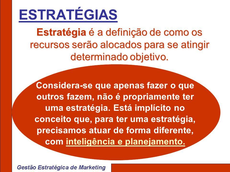 ESTRATÉGIAS Estratégia é a definição de como os recursos serão alocados para se atingir determinado objetivo.