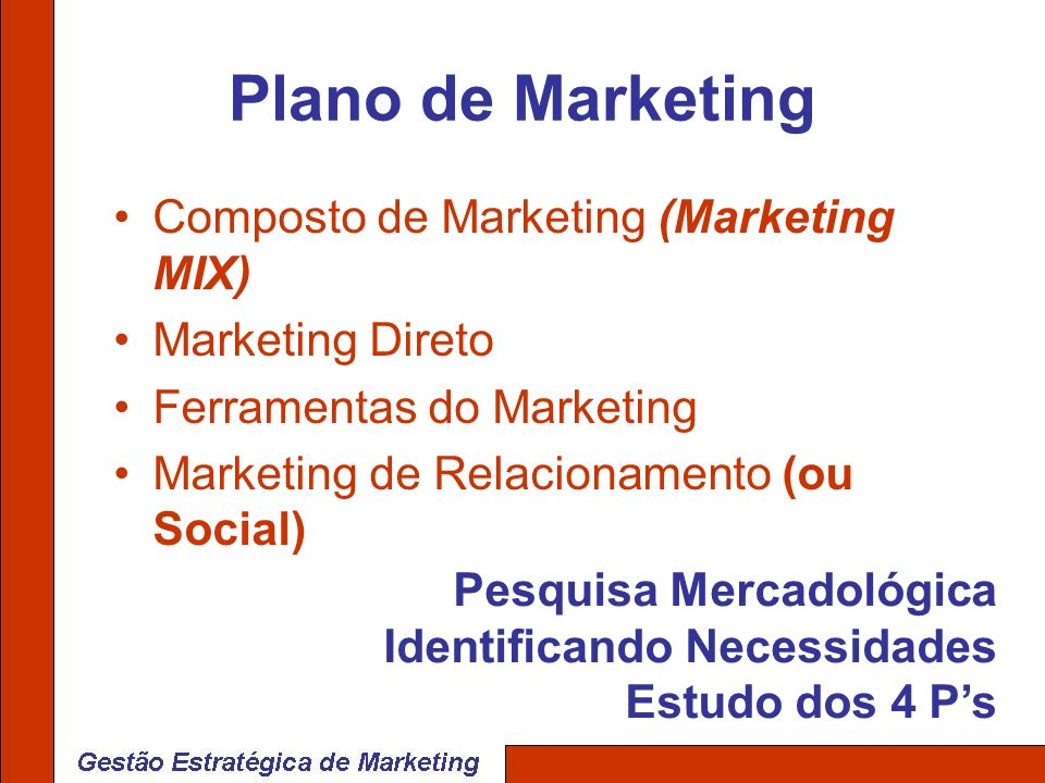 Plano de Marketing Composto de Marketing (Marketing MIX)