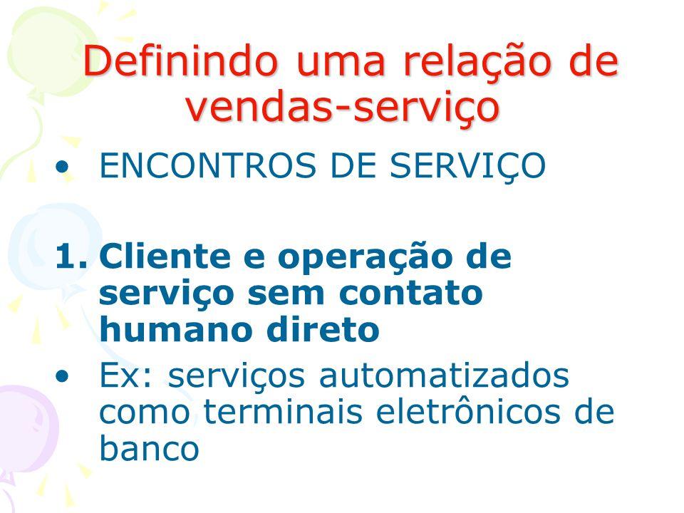 Definindo uma relação de vendas-serviço