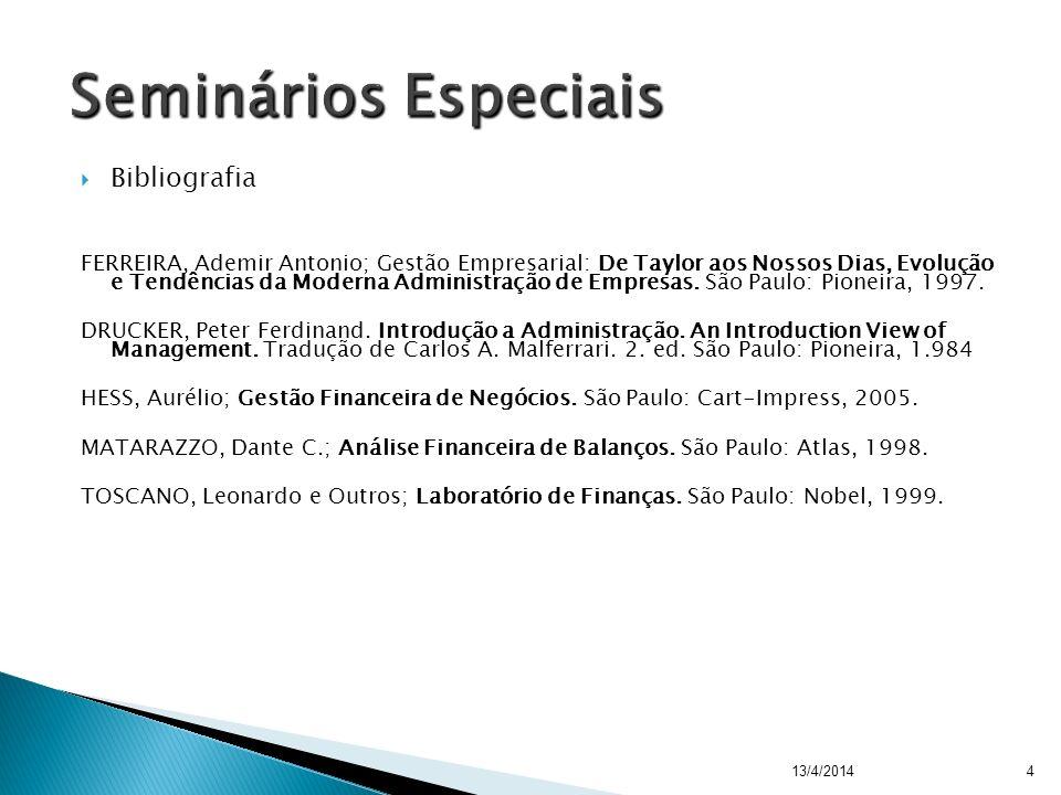 Seminários Especiais Bibliografia