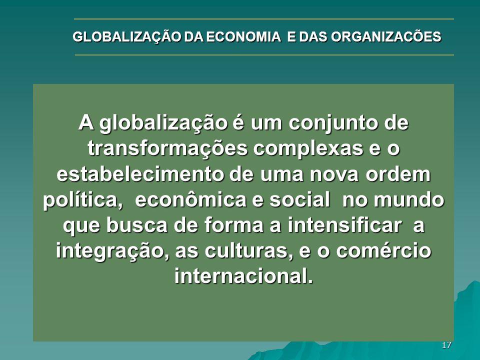 GLOBALIZAÇÃO DA ECONOMIA E DAS ORGANIZACÕES