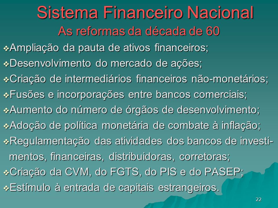 Sistema Financeiro Nacional As reformas da década de 60