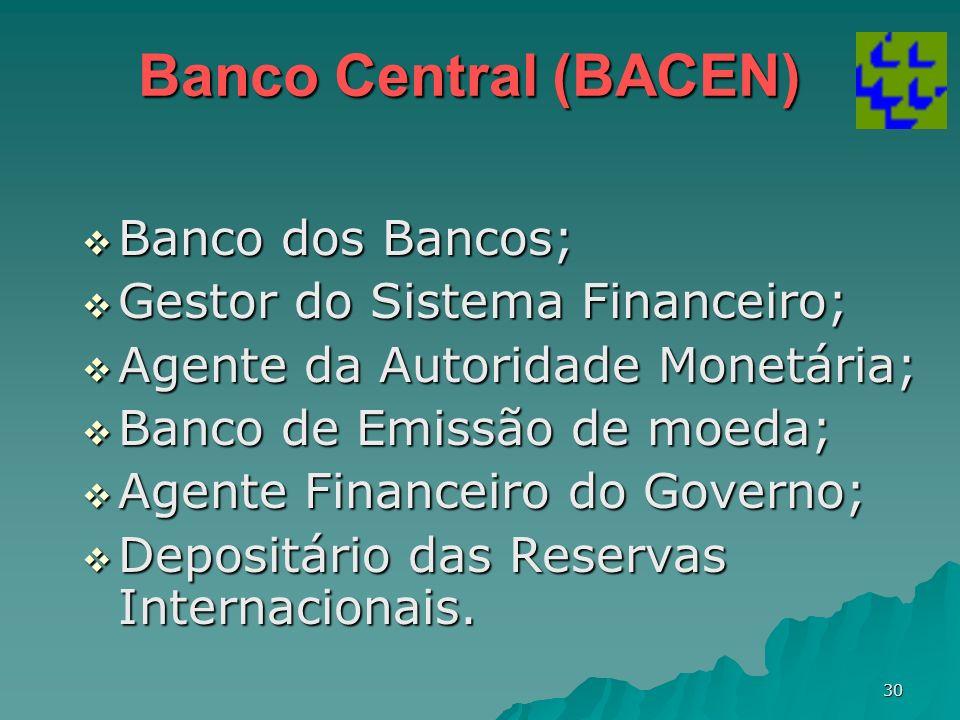 Banco Central (BACEN) Banco dos Bancos; Gestor do Sistema Financeiro;