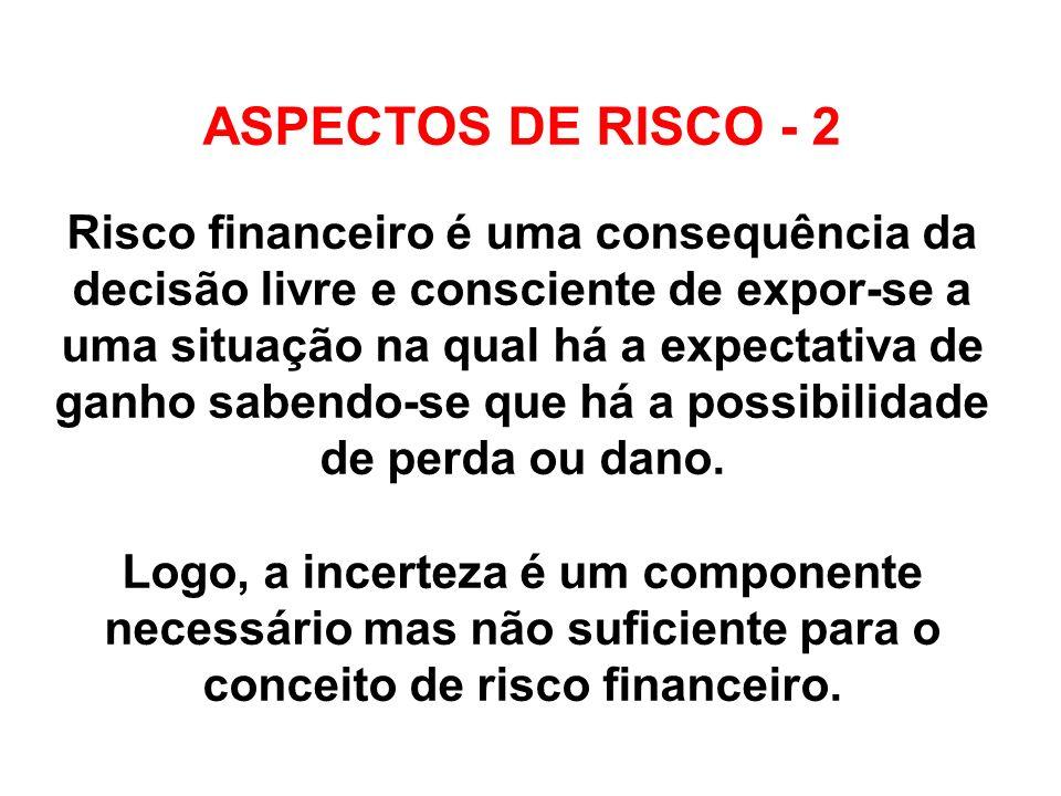 ASPECTOS DE RISCO - 2 Risco financeiro é uma consequência da decisão livre e consciente de expor-se a uma situação na qual há a expectativa de ganho sabendo-se que há a possibilidade de perda ou dano.