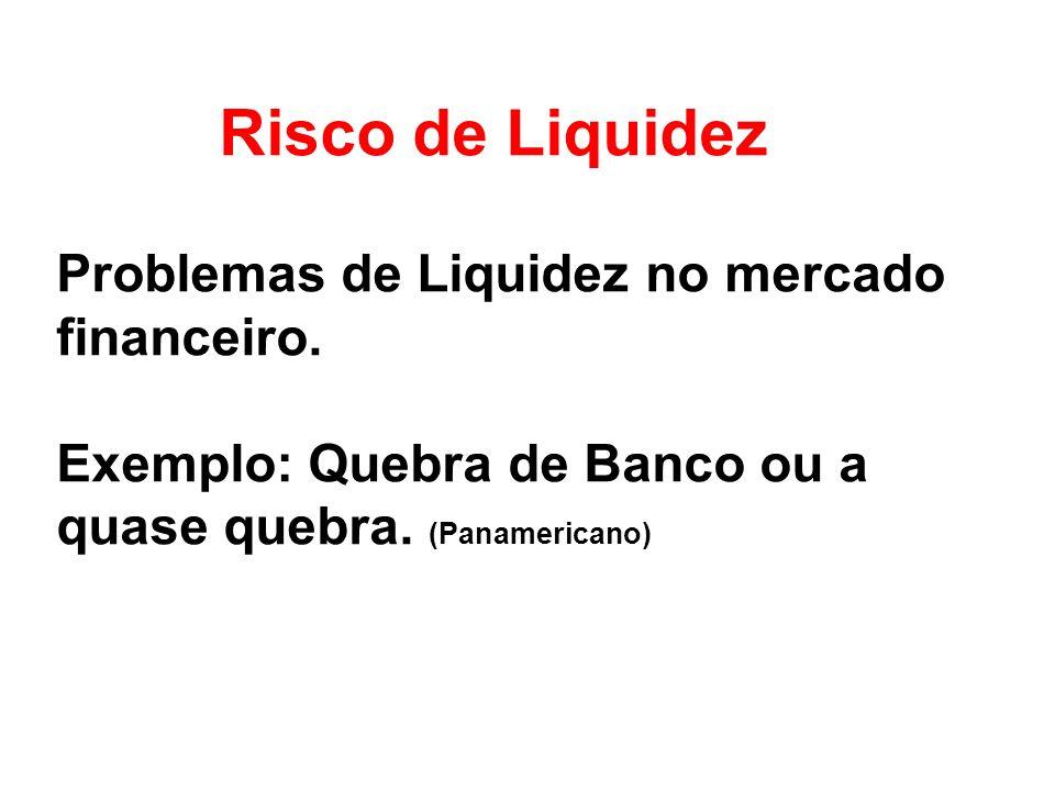 Risco de Liquidez Problemas de Liquidez no mercado financeiro.