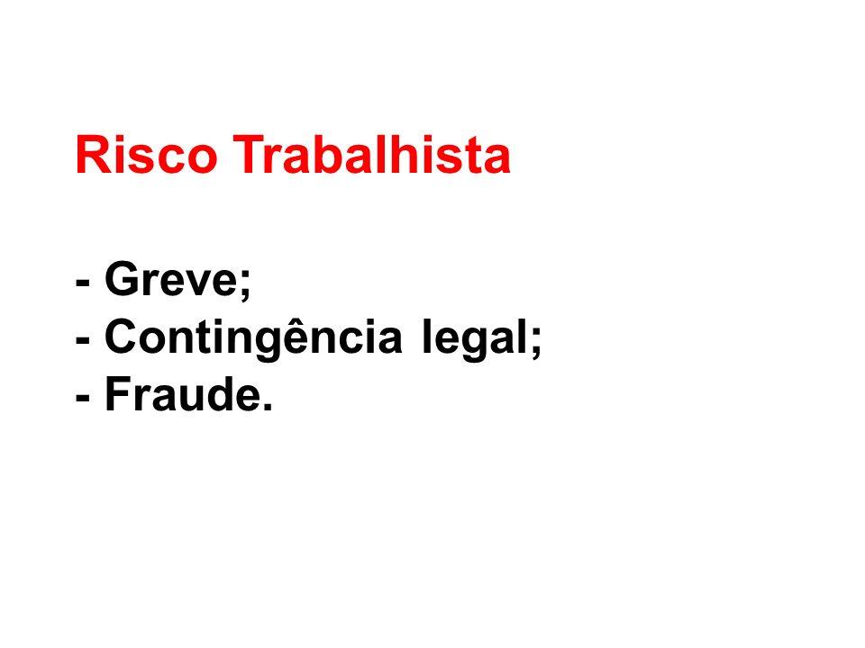 Risco Trabalhista - Greve; - Contingência legal; - Fraude.