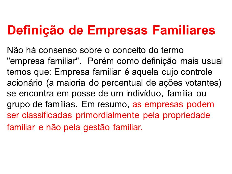 Definição de Empresas Familiares