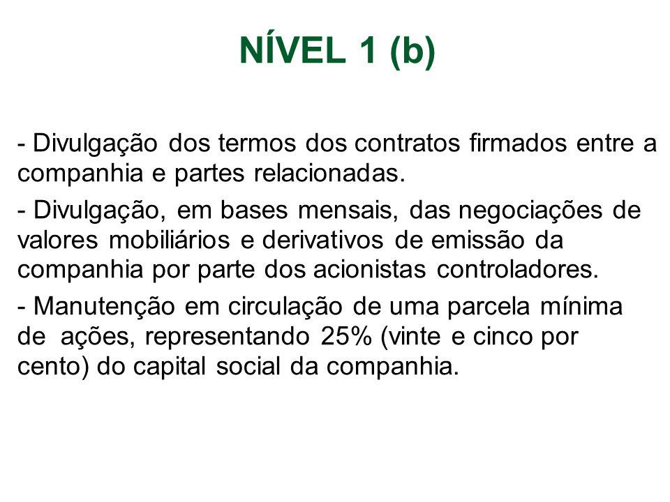 NÍVEL 1 (b) - Divulgação dos termos dos contratos firmados entre a companhia e partes relacionadas.