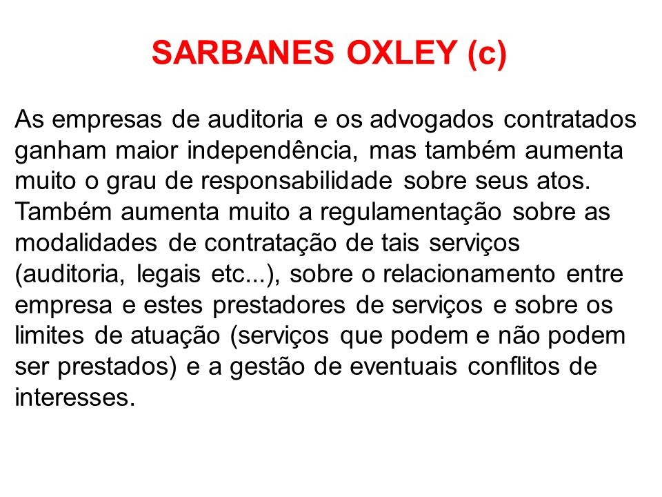 SARBANES OXLEY (c)