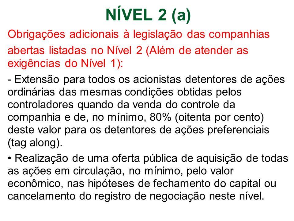 NÍVEL 2 (a) Obrigações adicionais à legislação das companhias