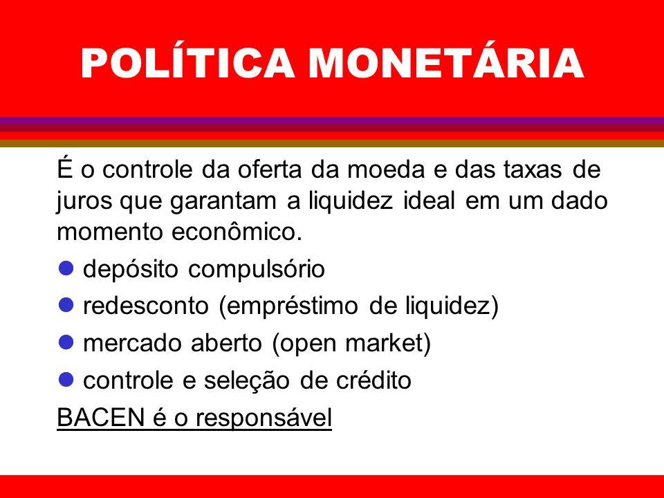 POLÍTICA MONETÁRIAÉ o controle da oferta da moeda e das taxas de juros que garantam a liquidez ideal em um dado momento econômico.