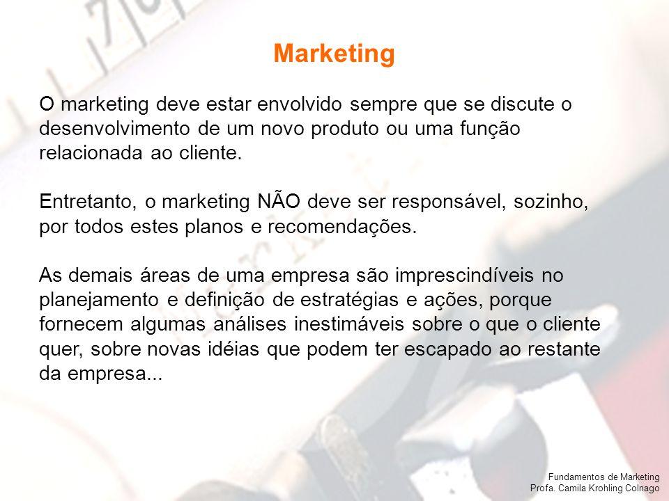 Marketing O marketing deve estar envolvido sempre que se discute o desenvolvimento de um novo produto ou uma função.