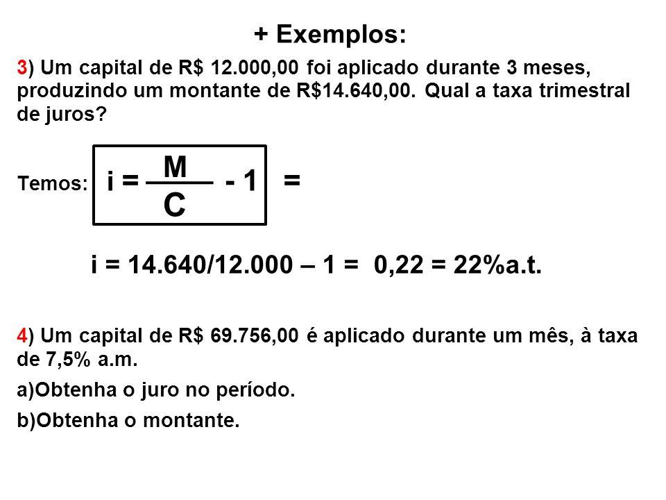 C i = 14.640/12.000 – 1 = 0,22 = 22%a.t. M + Exemplos: