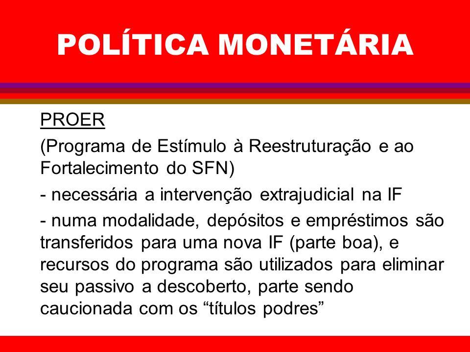 POLÍTICA MONETÁRIA PROER