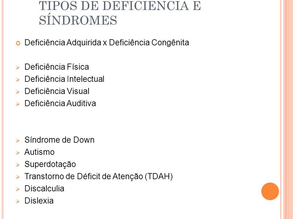 TIPOS DE DEFICIÊNCIA E SÍNDROMES