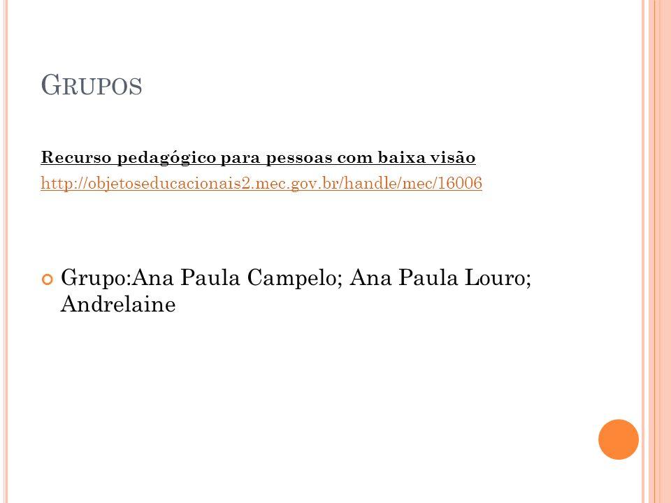 Grupos Grupo:Ana Paula Campelo; Ana Paula Louro; Andrelaine