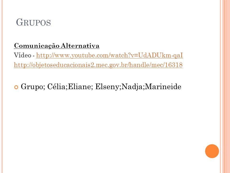 Grupos Grupo; Célia;Eliane; Elseny;Nadja;Marineide
